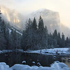 Clearing mist at Valley View. Yosemite December 08