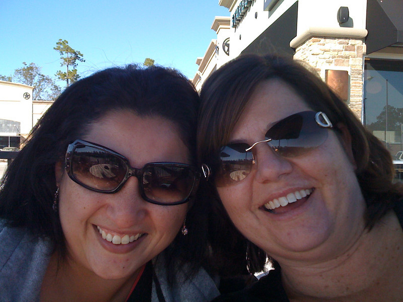 Kathy and I being goofy at Starbucks, playing with my new iphone