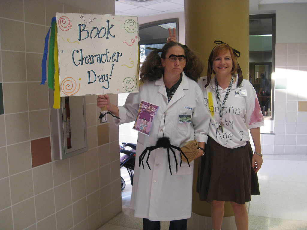 Mrs. Campbell, the librarian, and Mrs. Pate, the Assistant Principal dressed as book characters too!