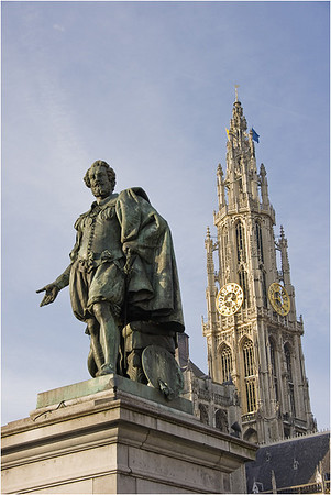 Peter-Paul Rubens in front of the Antwerp Cathedral tower.