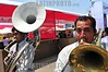 Peru : 1 . Feria Gastronomica Internacional de Lima. musicos. / musician play during the food fair in Lima. / Eröffnung der Gastrowochen in Lima. Blasmusiker. © Marco Simola/LATINPHOTO.org
