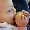 Quinton enjoys a tasty apple