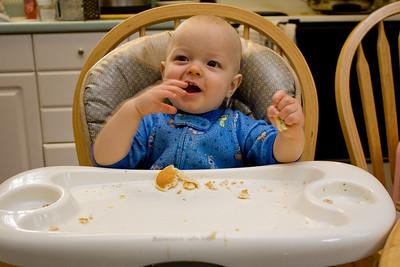 Quinton enjoys pancakes