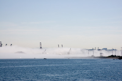 The Port of Seattle hidden in the morning Marine layer.