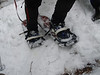 Innovative use of duct tape #2... snowshoe bindings!
