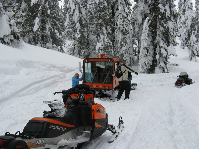 Even the snow cat was stuck!  Helped the dad, mom and 2 boys get it out.  Perry rode to their cabin to get friends to come and help.
