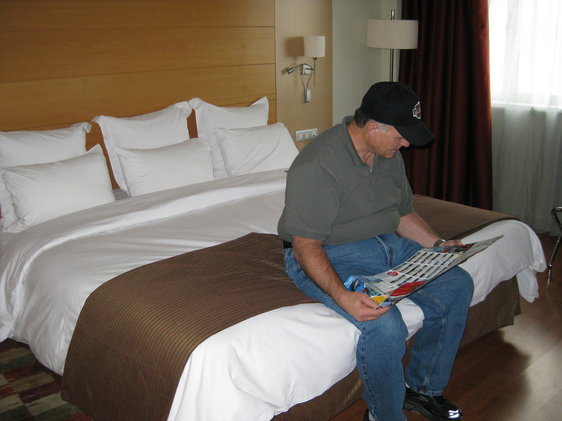 Our first night- at Marriott in Barcelona- Mike is looking at the route of the open air bus (hop off/on anywhere on the route).  So left Sacto 6:30am Fri and arrive here 10:30am Sat- checked in then off to tour Barcelona.