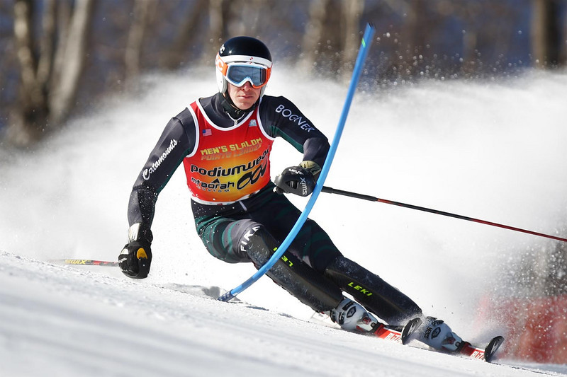 David Donaldson of the University of Vermont takes the win in the Dartmouth Carnival Slalom, held at the Dartmouth Skiway in Lyme, NH.<br /> <br /> CERDIT: Lincoln Benedict / EISA
