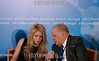 Portugal - Estoril : Colombian singer Shakira (L) talks to Secretary General of The Iberoamerican General Secretariat (SEGIB) Enrique V . Iglesias during a press conference of the Alas Foundation (Latin American Foundation of Solidarity Action) during the XIX Ibero-American Summit on November 30, 2009 in Estoril. Heads of state and government leaders of Portugal, Spain, Andorra and South American countries gather in Estoril, outskirts of Lisbon, for the XIX Ibero-American Summit from November 29 to December 1, 2009. / Cumbres Iberoamericanas. / XIX Iberoamerika-Gipfel in Estoril eröffnet . © Paulo Amorim/LATINPHOTO.org