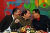 Nicaragua : Manuel Zelya, presidende de Honduras llega a Nicaragua para reunirse con los presidentes del ALBA tras recibir un golpe de estado por militares en su pais . Hugo Chavez Frias, Presidente de la Republica Bolivariana de Venezuela, Daniel Ortega, paises del ALBA. / Die Präsidenten der Region Honduras, Nikaragua und Venezuela, Daniel Ortega, Manuel Zelya und Hugo Chavez am 29.06.2009 in Managua. © Oscar Navarrete/LATINPHOTO.org