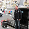 CNBC camera man, based in Amsterdam, covering the Paris strikes with his container of gas.  With so many gas stations closed, he fueled up in Belgium.