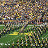 The Michigan marching band forming the block M