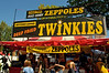 Just what a Twinkie needs: getting dipped in batter, deep fried, dipped in chocolate sauce, and sprinkled with powdered sugar. They weren't invented here, though, but at the Texas State Fair, according to Wikipedia.