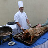 Chef shows off the pig that was roasted, yummy!