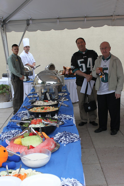 Start of the Tailgate Kick Off Welcoming Party Sunday, Sept. 26, Staff member Gary Latta (left) and Richard Rzeszotarski, Mohawk Dairy are hungry!