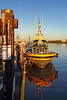 Pilot boat at dock in Steveston harbour.<br /> Richmond, British Columbia, Canada.