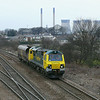Freightliners 70002 is seen approching England Lane Knottingley with 6G66 1145 Hunslet Sg's - Drax P.S. Cripple trip.