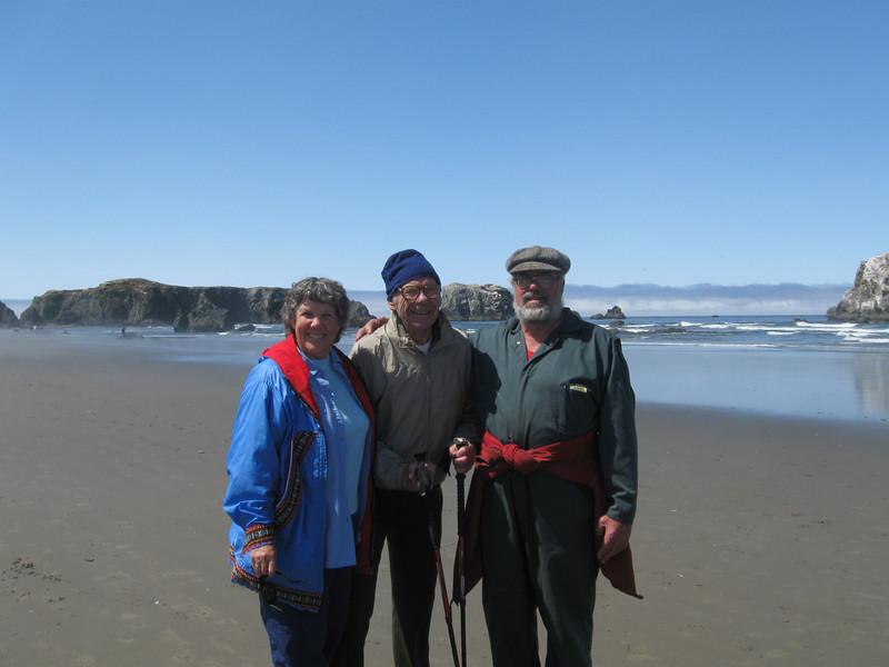 Kari Mohn, Russ Mohn, Stormy Mohn enjoying the sun of the Oregon beach.