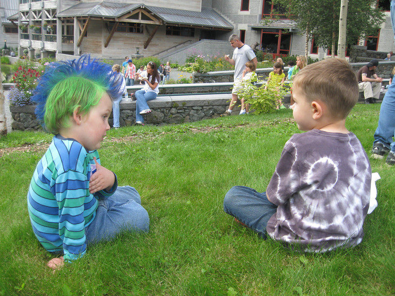Hugh meets a friend at the Blueberry Festival.