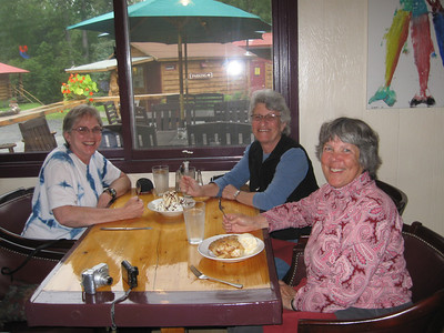 Celebrating Kelley.  This is Kelley's June birthday celebration on August 7.  We are eating at Bowman's Bear Creek Restaurant in Hope.
