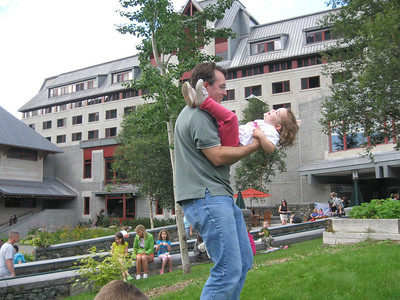 Hilary loves it.  The Alyeska Hotel is in the background.  That's where Paul and Sarah had their wedding reception.