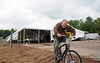 Gary Crandall pedals away from the Big Top before the Chequamegon Fat Tire Festival from Hayward to Cable in northwestern Wisconsin. (c) 2010 Tom Kelly/Chequamegon Fat Tire Festival