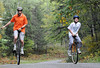 Unicyclists ride through a colorful northwoods Wisconsin forest before the Chequamegon Fat Tire Festival from Hayward to Cable in northwestern Wisconsin. (c) 2010 Tom Kelly/Chequamegon Fat Tire Festival