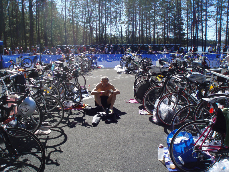 setting up at the transition area