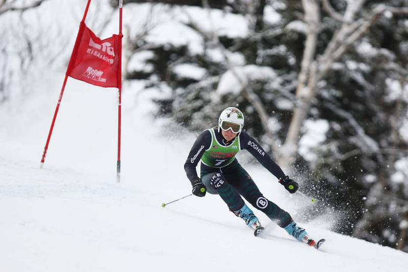 Please credit Lincoln Benedict/EISA<br /> <br /> Megan Ryley of Dartmouth takes the win at the Giant Slalom of the St. Michael's Carnival held at Smuggler's Notch in Vermont.