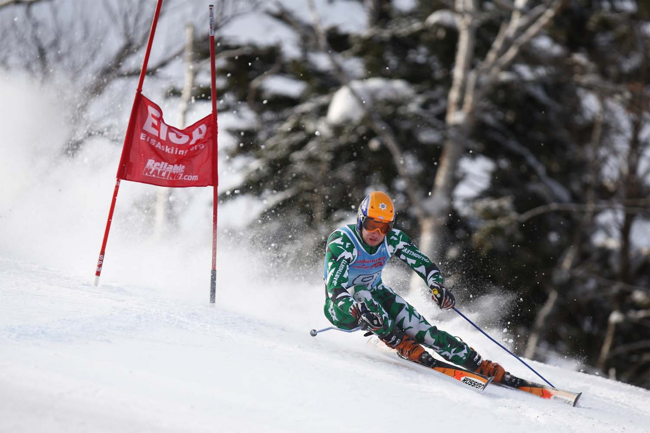 Please credit Lincoln Benedict/EISA<br /> <br /> Ace Tarberry of Dartmouth takes the win at the Giant Slalom of the St. Michael's Carnival held at Smuggler's Notch in Vermont.