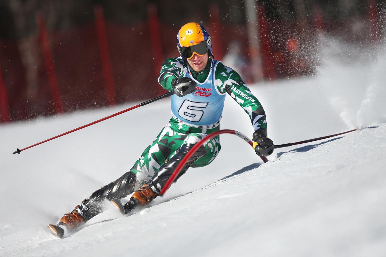 Dartmouth's Ace Tarberry takes the win in the UVM carnival's Slalom event held in Stowe, VT.<br /> <br /> CREDIT: Lincoln Benedict / EISA