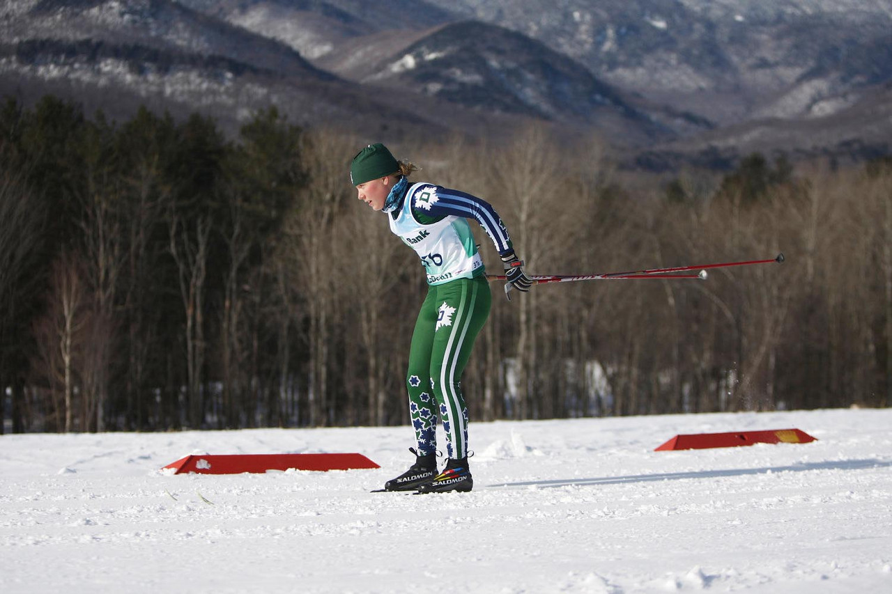 Dartmouth's Ida Sargent takes first place in the UVM carnival's 5k classic event held at the Trapp Family Lodge in Stowe, VT.<br /> <br /> CREDIT: Lincoln Benedict / EISA