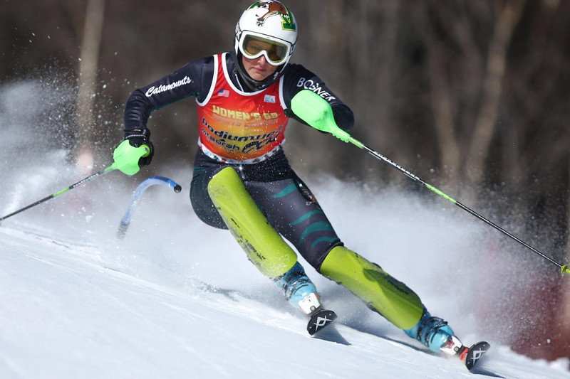 UVM's Megan Ryley takes the win for the second time in two days at her home carnival, this time in the Slalom event held in Stowe, VT.<br /> <br /> CREDIT: Lincoln Benedict / EISA