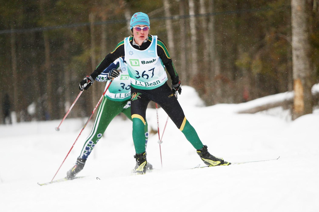 The University of Vermont's own Caitlin Patterson takes the win at her home carnival at the 10k skate event held at the Trapp Family Lodge in Stowe, VT.<br /> <br /> Credit: Lincoln Benedict / EISA
