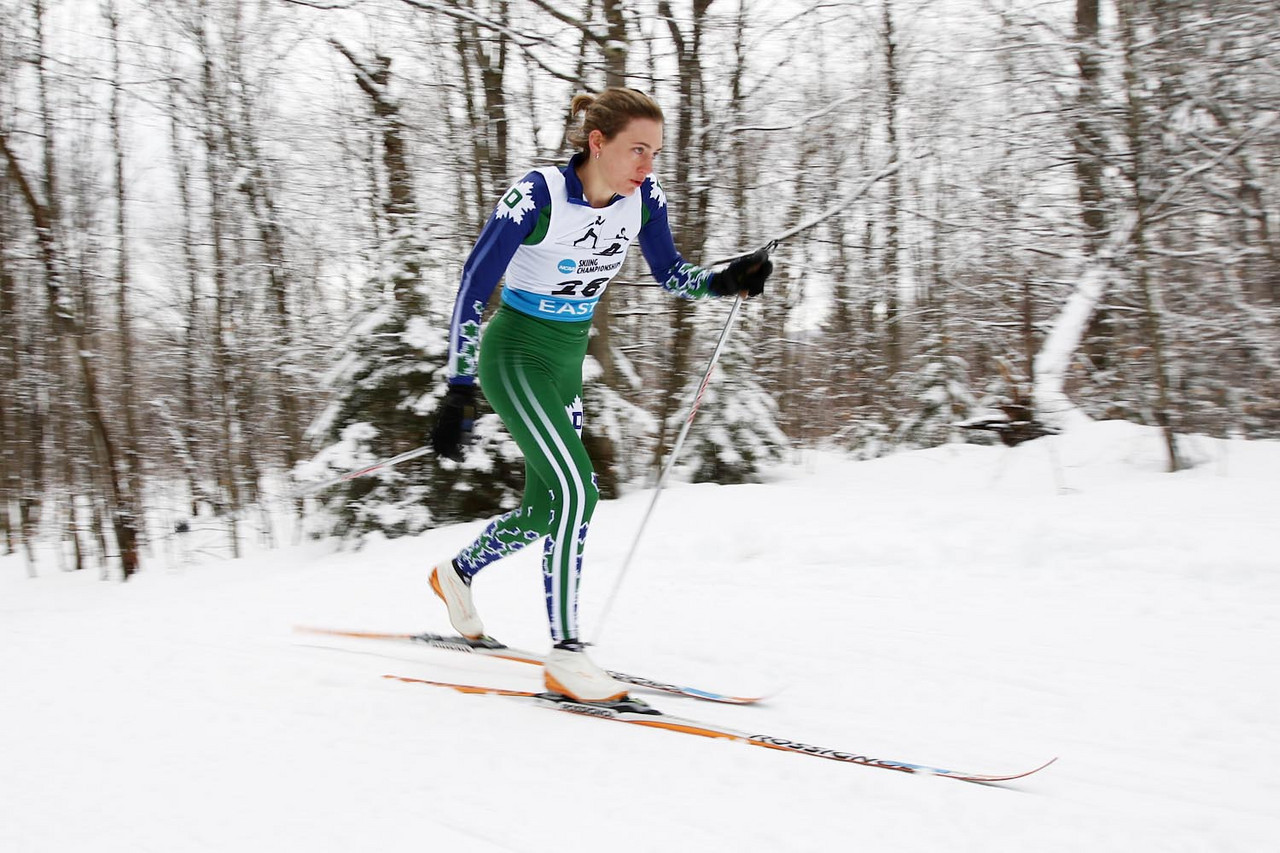Dartmouth's Katie Bono takes top honors at the Middlebury Carnival's 5k Classic Event held at the Rikert Touring Center in Ripton, VT.<br /> <br /> Credit: Lincoln Benedict / EISA