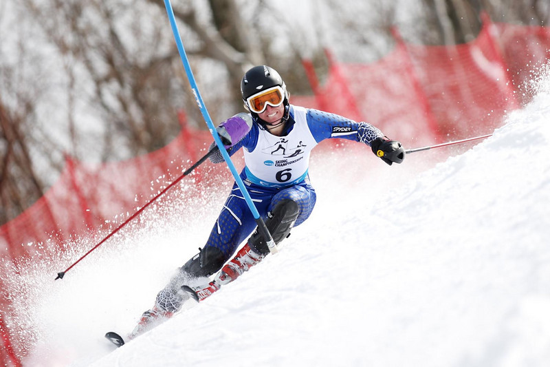 The University of New Hampshire's Veronique Archambault-Leger takes top honors at the Middlebury Carnival's Alpine Slalom held at the Middlebury Snowbowl in Hancock, VT.<br /> <br /> Credit: Lincoln Benedict / EISA