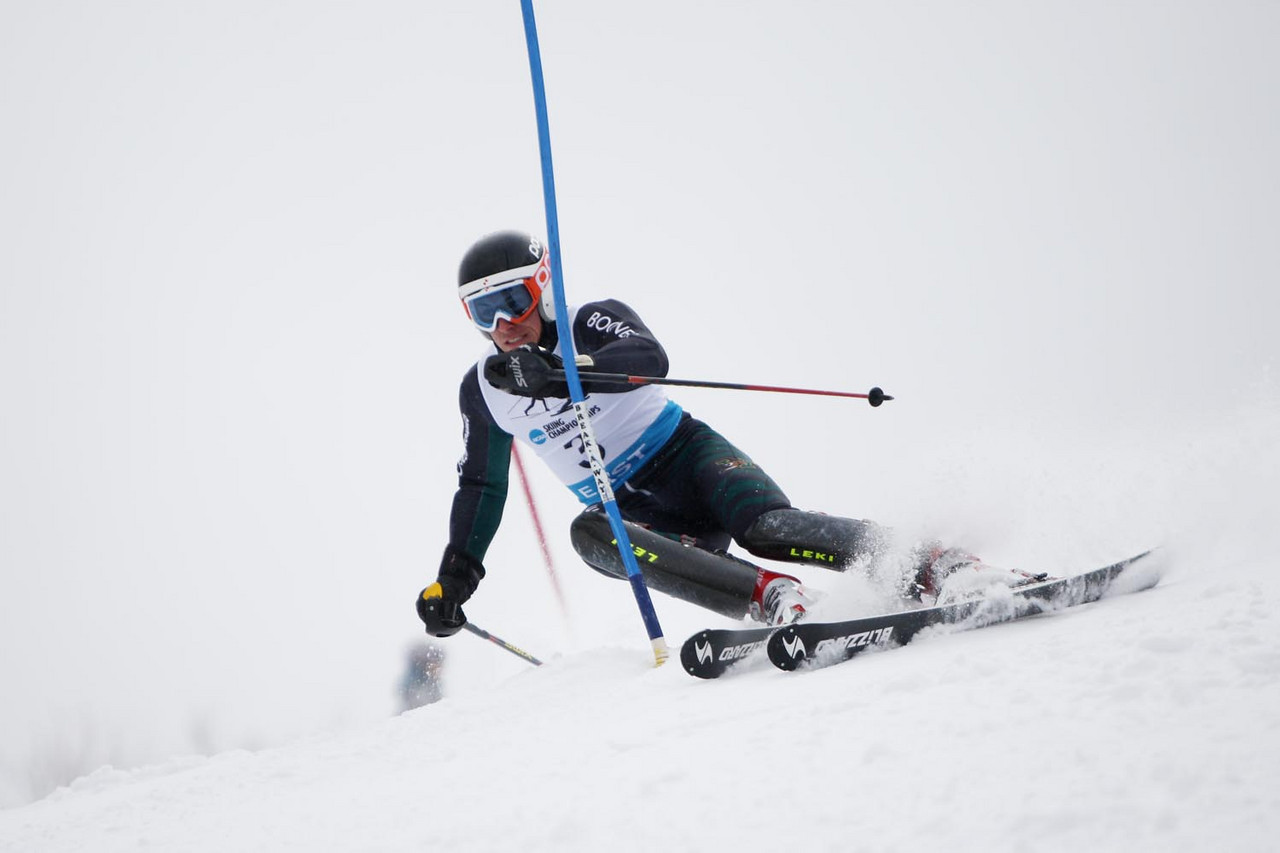 The University of Vermont's David Donaldson takes top honors at the Middlebury Carnival's Alpine Slalom held at the Middlebury Snowbowl in Hancock, VT.<br /> <br /> Credit: Lincoln Benedict / EISA