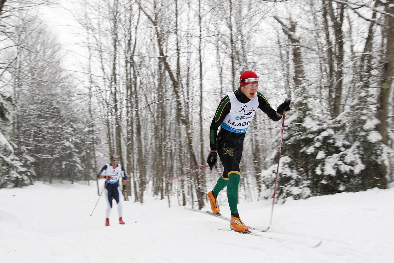 The University of Vermont's Franz Bernstein takes top honors at the Middlebury Carnival's 10k Classic Event held at the Rikert Touring Center in Ripton, VT.<br /> <br /> Credit: Lincoln Benedict / EISA