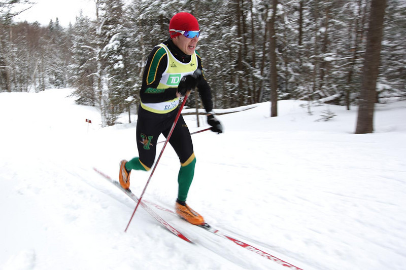 The University of Vermont's Franz Bernstein skis to a victory at the 94th Williams Carnival, with Nordic Skiing races held at Prospect Mountain in Bennington, VT.<br /> <br /> CREDIT: Lincoln Benedict / EISA