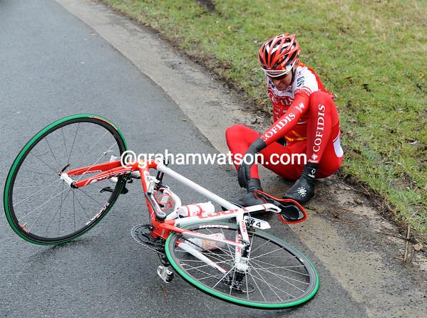 Tristan Valentin is the first to crash on treacherous roads...