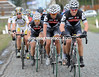 Last year's winner, Thor Hushovd, is forced to chase for Cervelo and Haussler as Flecha and Gilbert push the pressure...