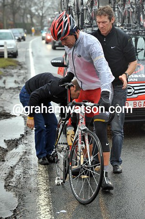 Gert Steegmans has had a flat tyre - not a good start to his day...