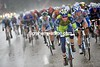 Liquigas make the chase - the storm has created gusting winds of almost 60-kilometres-per-hour...