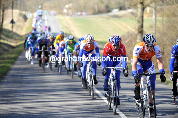 Rabobank are keeping the pressure on from the front, making it torture for those at the back..!