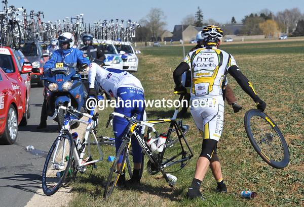 Adam Hansen has been caught in a bigger crash at around 65-kilometres...
