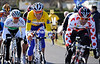 Valverde, Boom and Nicholas Roche have emerged in front with 15-kilometres left - seventeen men form this leading group...