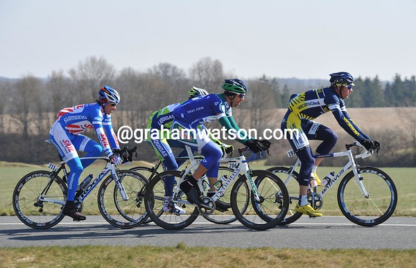 Four men are on the run right from the start-led by Jens Mouris...