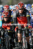Little and large - Sebastian Rosseler is having no trouble protecting Levi Leipheimer...