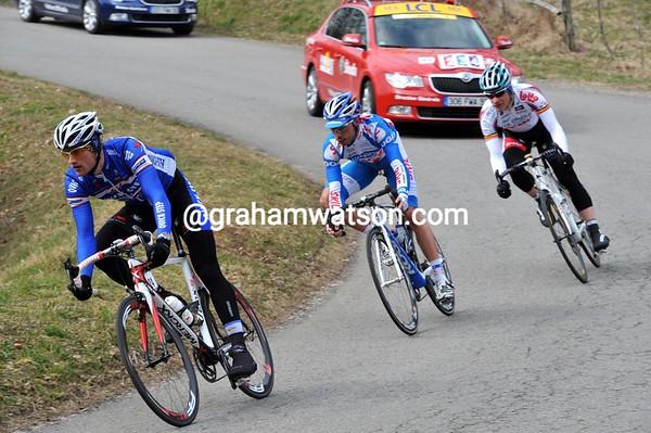Three men have got away after 30-kilometres - Nikolas Maes leads the way...