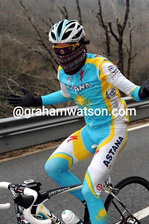 Alberto Contador is colder still - but he can only laugh at his discomfort...